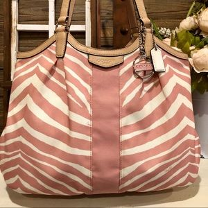 Coach Devin Pink & White Zebra Striped Tote NWOT